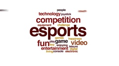Esports animated word cloud, text design animation. Stock Footage