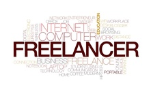 Freelancer animated word cloud, text design animation. Kinetic typography. Stock Footage