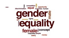 Gender equality animated word cloud, text design animation. Stock Footage