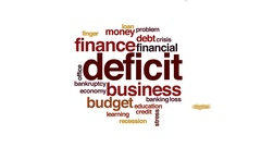 Deficit animated word cloud, text design animation. Stock Footage