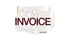 Invoice animated word cloud, text design animation. Kinetic typography. Stock Footage