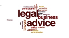 Legal advice animated word cloud, text design animation. Stock Footage