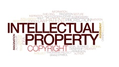Intellectual property animated word cloud, text animation. Kinetic typography. Stock Footage
