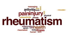 Rheumatism animated word cloud, text design animation. Stock Footage